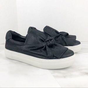 J Slides Audra Slip-On Black Leather Sneaker